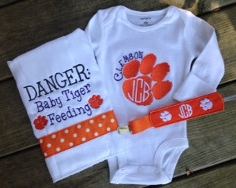 Clemson Gift Set - Bodysuit, Burp Cloth, & Paci Clip!