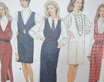 Vintage Simplicity's Sewing Pattern 8546 - Misses' Jumper in 2 Lengths, Easy to Sew - 1993 - Plus Size P, 12, 14, 16 - womens, dress, work