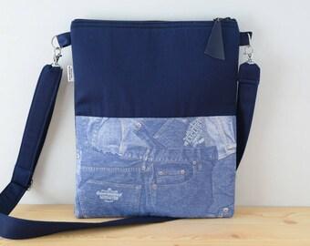 Blue tote,canvas tote bag,denim tote bag,denim print,blue purses,crossbody bag,crossbody purse,blue fabric tote,blue purse bag,jeans bag
