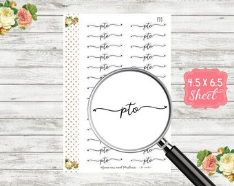 PTO Planner Stickers - Personal Time Off Sticker - Script Sticker - Script Planner Sticker - Cursive Sticker - Bullet Journal - BUJO S127