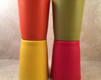 4 TUPPERWARE Short Tumblers 3 inches Vintage Retro