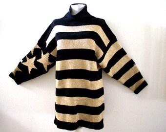 90s Black and Metallic Gold Tunic Sweater by Perry Ellis - Vintage Mock Turtleneck Long Tunic Sweater of Mini Dress - Size Medium