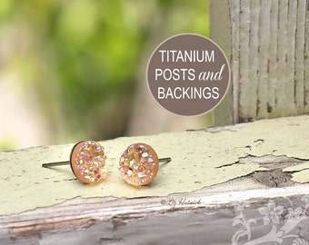 Peach Glitter Studs Faux Druzy Titanium Post Earrings, 8mm Faux Drusy