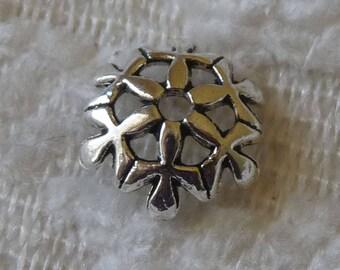 Bead Caps, 10mm Flower Bead Caps, Snowflake Bead Caps, End Spacer, 10mm Antique Silver Tone Metal Bead Caps, Beading Supplies