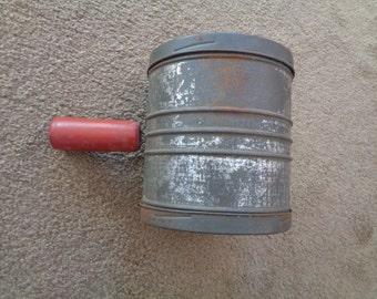 Unique Vintage Tin Flour Sifter