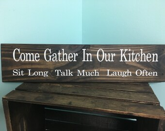 Come Gather | kitchen sign | kitchen decor | kitchen | home decor | handmade | rustic kitchen