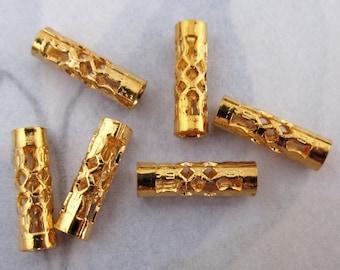 30 pcs. gold tone filigree tube beads 12x3.5mm - f4119