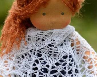 White Doll shawl Knit shawl Lace miniature scarf Lace doll shawl Waldorf doll Miniature shawl Baby doll shawl Dollhouse miniature Mini shawl