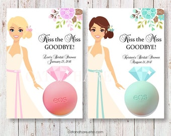 Bridal Shower Favors EOS Lip Balm Kiss The Miss Goodbye Bridal Brunch Wedding Favors Bachelorette Party Gift Tags Thank You Favors PRINTABLE