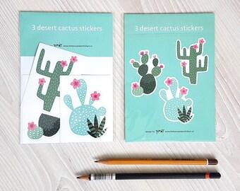 Cactus stickers vinyl glossy desert succulent - decal laptop stickers - weatherproof - design by Heleen van den Thillart