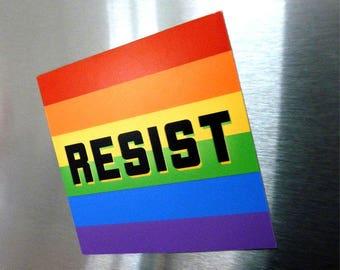 "LGBTQ Resist 3"" Magnet"