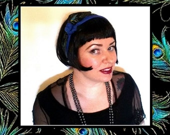 Betty Bandana in Metallic 1920s Peacock Feathers Print...New Size and Style