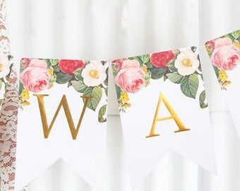 Boho Letter Banner - Boho Floral Garland - Boho Party Garland - Boho Wedding Decorations - Boho Floral Banner - Boho Wedding Decor BTP404