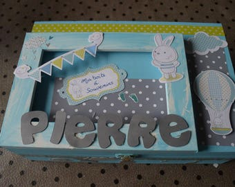 Box keepsake for baby (boy version) customizable colors and name