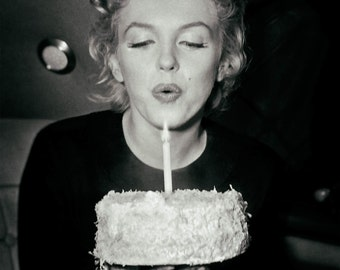 Marilyn Monroe photo print poster vintage photograph picture blowing out candle birthday cake