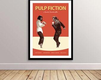 Pulp Fiction Poster - Pulp Fiction Print - Wall Art - Quentin Tarantino Movie Poster - John Travolta - Uma Thurman