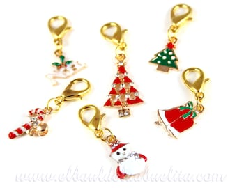 Christmas Stitch Markers Progress Keepers (Set of 6) for Knitting and Crochet (Ref.Nav1)
