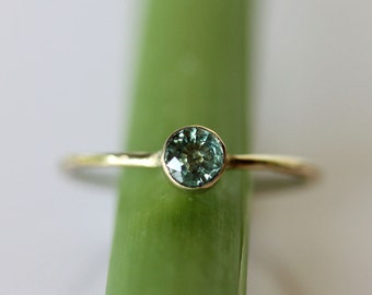 Green Sapphire 14K Gold Ring, Gemstone Ring, Stacking Ring, Recycled Gold Ring, Sapphire Gold Ring - Custom Made For You