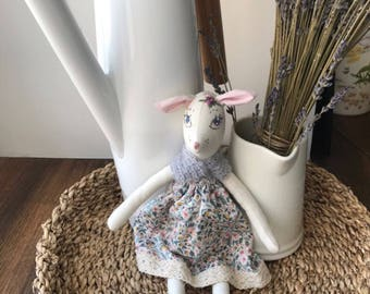 Deer doll, mouse doll, stuffed toy, heirloomdoll, baby shower, deer darling doll, handmade doll, embroidery, embroidered doll
