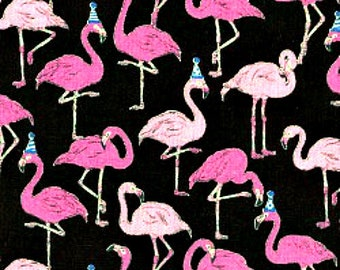 Flamingos with Party Hats Black - Cotton Linen Blend - Animals -  Cosmo - Japanese Import - Available in Fat Quarters, Half Yards and Yards