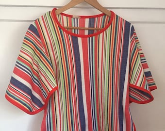 Vintage 1970's Tunic Top, Striped Rainbow Blouse, Bobo Hippie Top, Polyester Shirt, Loose Sleeves Shirt, Striped Tunic , Size Small/ Medium