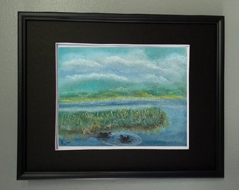 "8x10 Original Pastel Painting, Landscape Marsh Artwork, ""Happy Ducks in Marsh"""