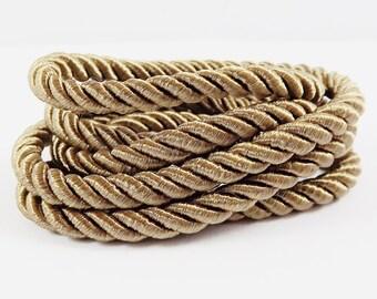 Coffee Brown 5mm Twisted Rayon Satin Rope Silk Braid Cord - 3 Ply Twist - 1 meters - 1.09 Yards - No: 16