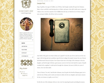 Tea And Crumpets Blogger Template - Ornate Vintage Engraving Theme with Adjustable Color Options From Dashboard - Regal Baroque