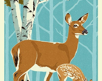 Colorado - Deer and Fawn - Letterpress (Art Prints available in multiple sizes)