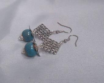 Silver earrings - blue square-