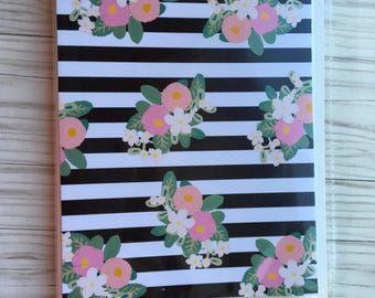 Floral sticker book Black and white bar floral sticker book Sticker organizer sticker storage