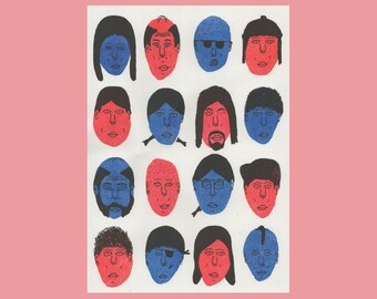 16 Faces - Risograph Print