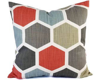Two Red and Blue Pillow Covers - Geometric Pillow Sham - Red Throw Pillow - Blue Decorative Pillow - Grey Pillow Cover - Red and Blue Pillow