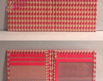 Pink Houndstooth Duct Tape Bifold Wallet