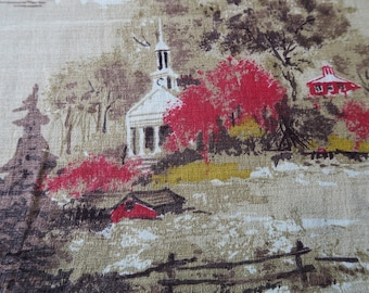 BARKCLOTH, American landscape, country decor, fall colours, vintage crafts, 1950s fabric, barkcloth remnant