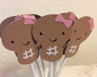 12 Lil Girl Peanut Cupcake toppers
