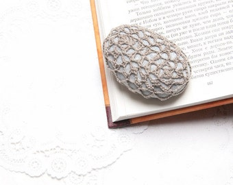 Beige crochet covered stone  lace stone paperweight home decor wedding decor