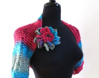Sweet Raspberry Red Blue Turquoise Light Green Color Knitted Lacy Summer Shoulder Shrug Bolero Sleeves