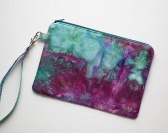 Clutch Purse, Wristlet, Zipper Pouch, Zipper Purse, Hand dyed Bag
