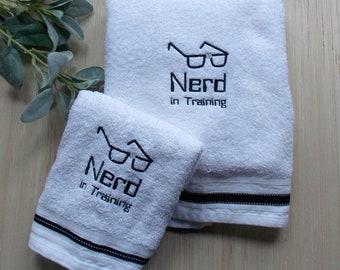 Nerd in Training Bath Towel Set - Nerd Bathroom Decor - Science Geek Bath Decor