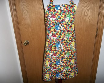 M&M Apron Peanut and Plain Full Reversible Apron Front Pocket Chefs Apron Cooking Apron Kitchen Adjustable Neckband Handmade Gift Unisex