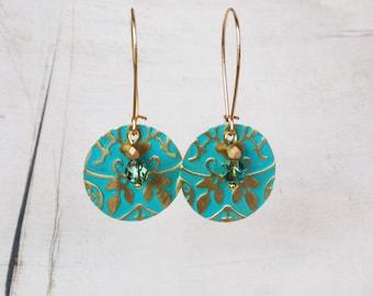Verdigris earrings, embossed gold disc earrings with verdigris patina, gold turquoise disc earring dangles, embossed earrings, boho earrings