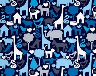 Custom Boutique (Blue Animal World) Shopping Cart Cover, restaurant cover, buggy cover, boy cart cover, Jungle animals, giraffes, elephants