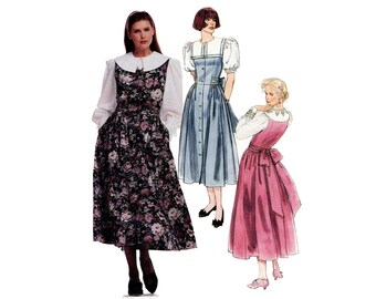 1980s Big Collar Blouse and Jumper Pattern Summer Dress V Neck Front Button Puff Sleeves McCalls 4602 Bust 30 31 32 Vintage Sewing Pattern