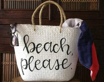 Beach, Please Woven Wicker Tote