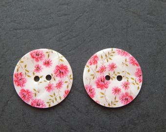 set of 2 buttons decor flowers Pink/White 25 mm
