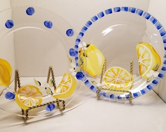 Sunny Lemons on Clear Glass Plates with Bright Blue Trim Details