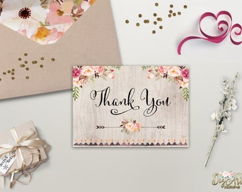 Floral Thank You Card Printable Rustic Thank You Card Boho Chic Thank You Bohemian Wedding Card Instant Digital Download