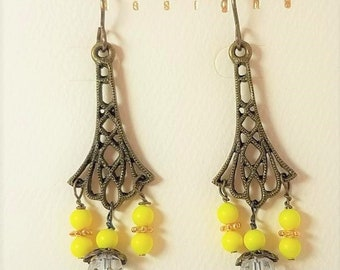 Earrings Yellow Glass & Antique Brass