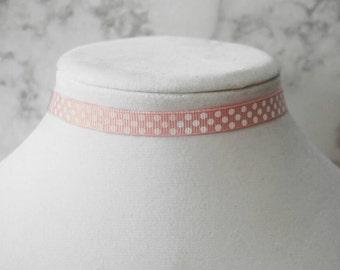Pink polka dot choker necklace